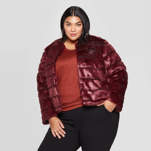 Women's Plus Size Faux Fur Jacket - Ava & Viv™ : Targ