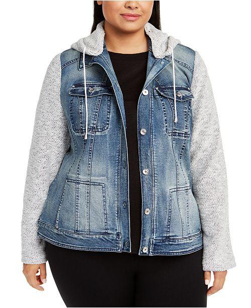 INC International Concepts INC Plus Size Knit-Sleeve Denim Jacket .