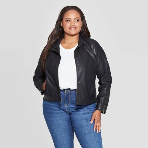Women's Plus Size Faux Leather Moto Jacket - Ava & Viv™ Black : Targ