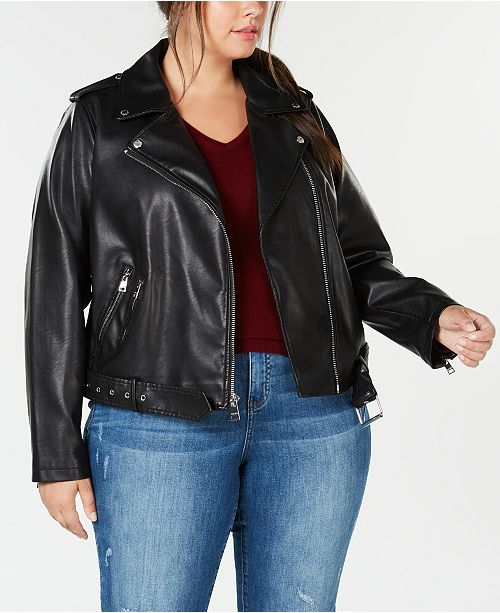 Levi's Trendy Plus Size Faux-Leather Belted Moto Jacket & Reviews .