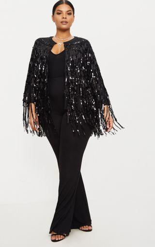 Plus Black Sequin Fringed Jacket   Plus Size   PrettyLittleThing U