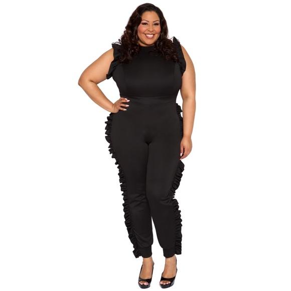 Pants   Plus Size Jumper Black   Poshma