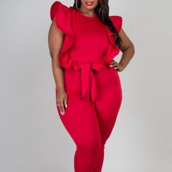 Pants   Red Plus Size Jumper   Poshma