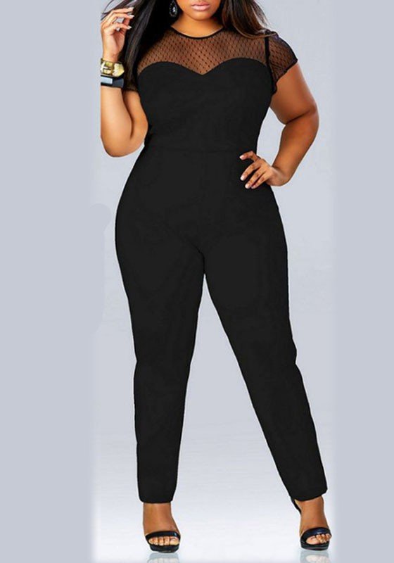 Black Patchwork Lace Short Sleeve Plus Size Casual Long Jumpsuit .