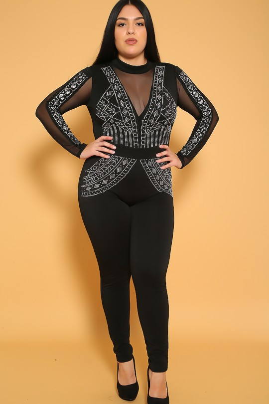 Sexy Black Silver Studded Accent Plus Size Jumpsu