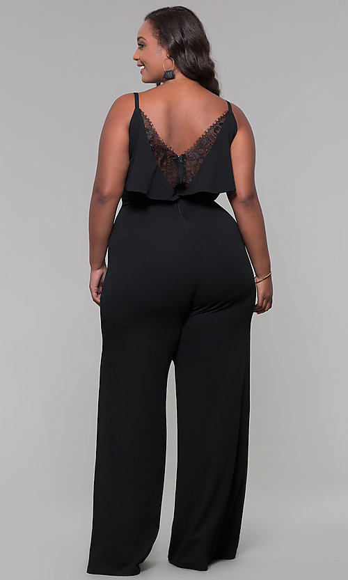 Plus-Size V-Neck Wedding-Guest Jumpsuit with La