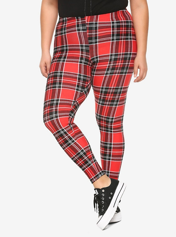 Red Plaid Leggings Plus Si
