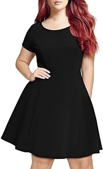 HDE Short Sleeve Black Skater Dress - Plus Size Graduation Dresses .