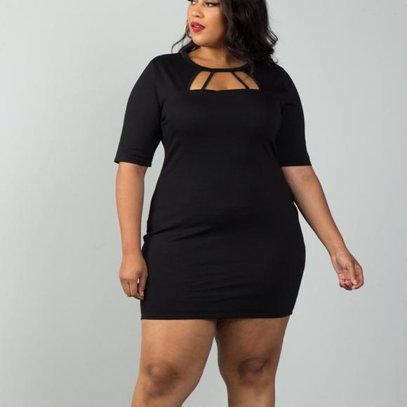 Dresses   Plus Size Bodycon Little Black Dress   Poshma