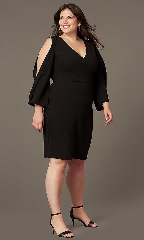 Plus-Size Sleeved Little Black Party Dress - PromGi