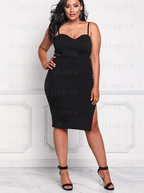 Bodycon Spaghetti Straps Plus Size Black Dress - Plus Size Dresses .