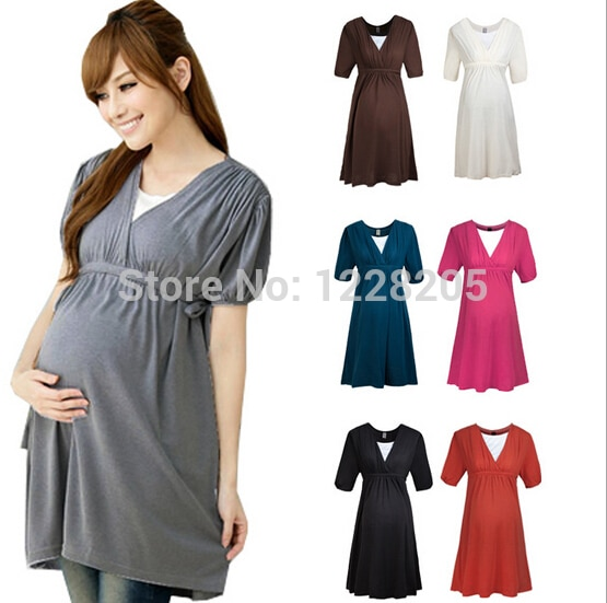 Fashion online maternity clothes plus size maternity dress .