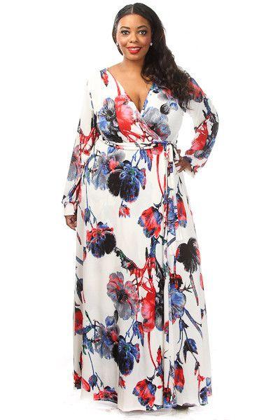 Plus Size Floral Print Wrap Maxi Dress | Plus size evening gown .