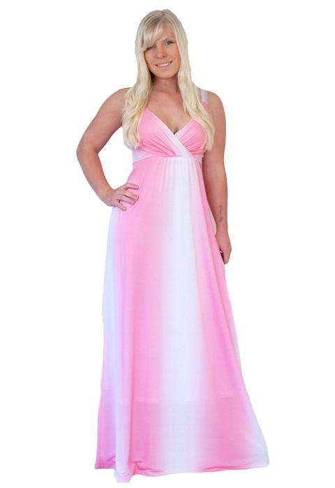 Pink empire waist plus size maxi dresses 2018 - under 50 dolla