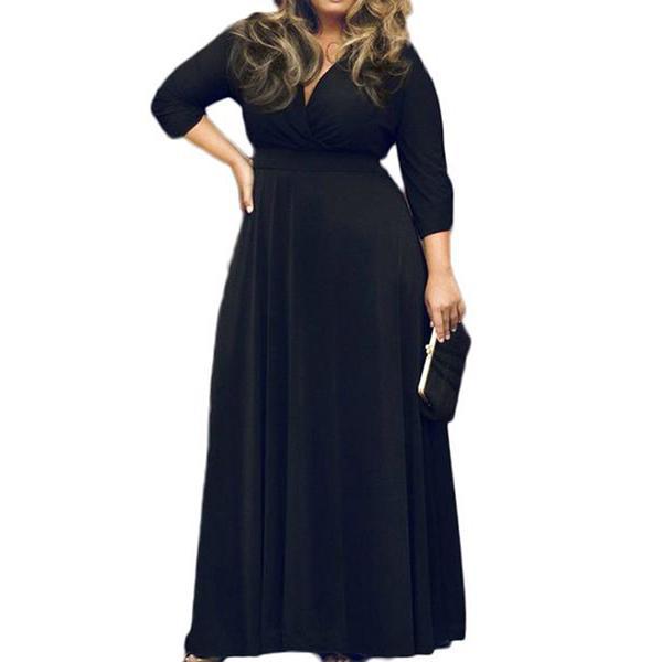 POSESHE Women's V-Neck 3/4 Sleeve Plus Size Maxi Dre