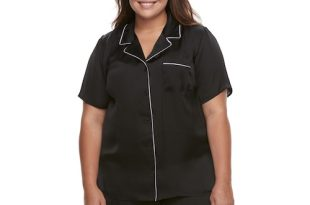 Plus Size Apt. 9® Pajamas: Satin Notch Collar Shirt & Sleep Shorts S
