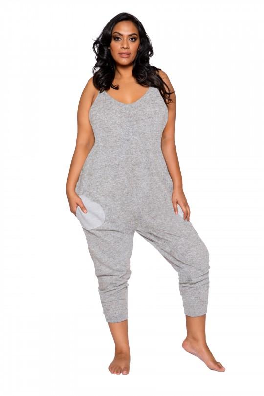 Sexy Grey Pajama Plus Size Jumpsu