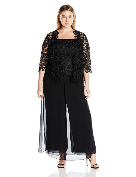 Emma Street Women's Plus Size Lace Pant Suit Com