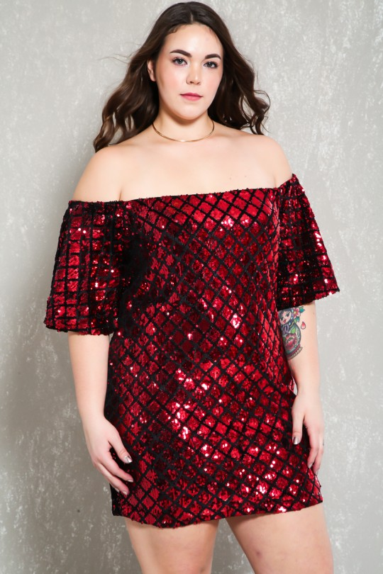 Sexy Black Red Sequin Plus Size Party Dre