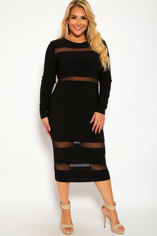 Sexy Black Mesh Detail Long Sleeve Midi Plus Size Party Dre