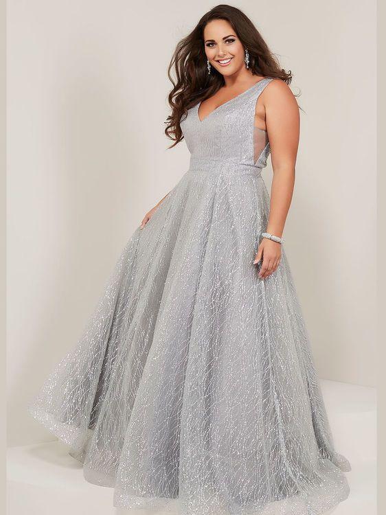 v-neck plus size prom dress tiffany designs 16373 | Plus size prom .