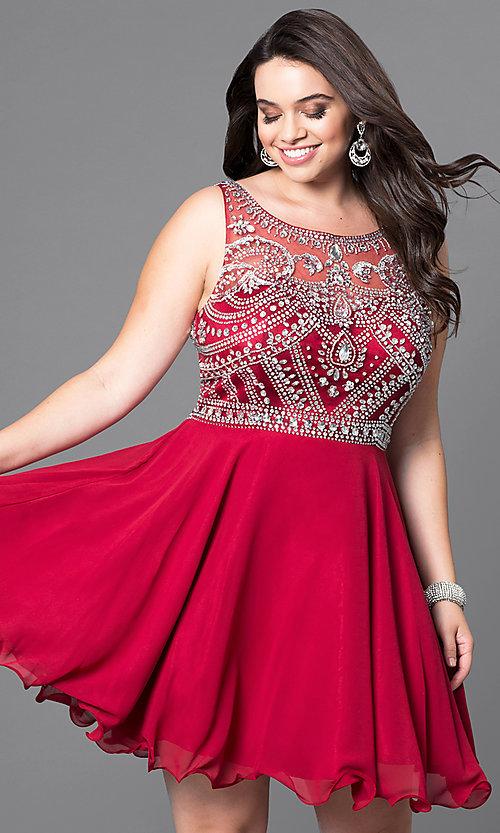 Short Plus-Size Prom Dress with Beaded Bodi
