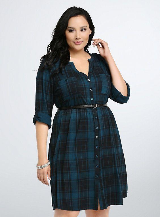 Plaid Button Front Shirt Dress | Dress shirts for women, Plus size .
