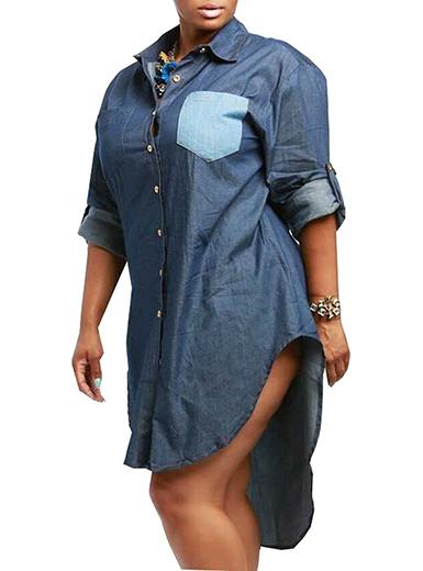 Plus Size Denim Shirt Dress - Long Sleeve / High Low Sty