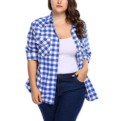 Plus Size Plaid Shirt: Amazon.c