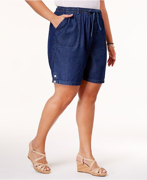 Karen Scott Plus Size Drawstring Cotton Shorts, Created for Macy's .