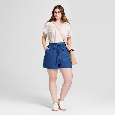 Women's Plus Size Paper Bag Waist Shorts - Universal Thread Medium .