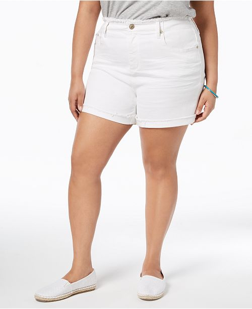 Seven7 Jeans Seven7 Trendy Plus Size Frayed White Denim Shorts .