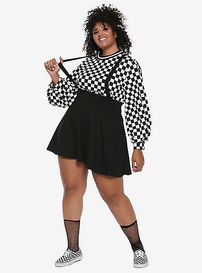 Black Suspender Circle Skirt Plus Si