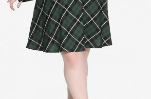 Tripp Green Plaid Suspenders Skirt Plus Si