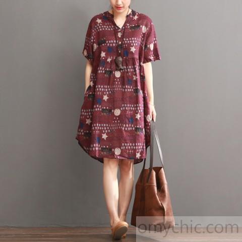 Plus size print summer dress loose fit shift dresses burgun