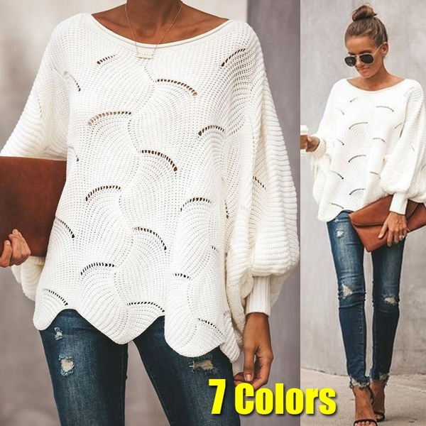 Womens Sweaters Casual Plus Size Pure Color Hollow Out Bat Sleeve .