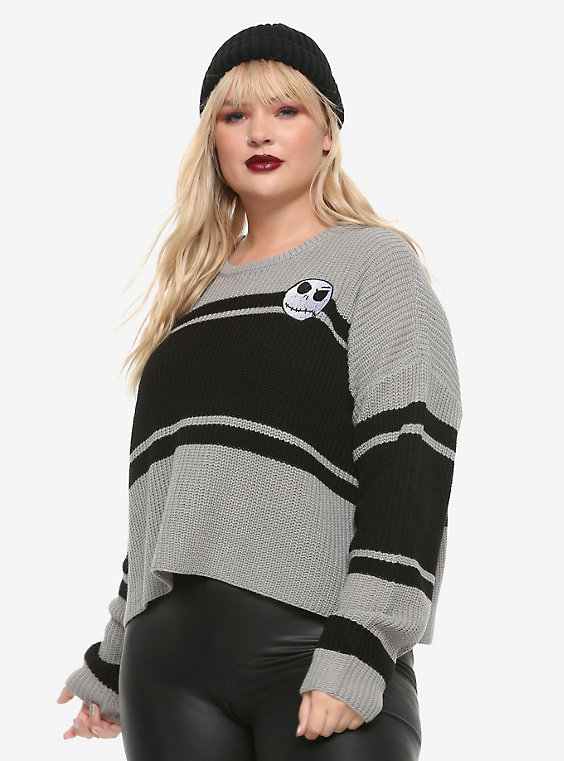 The Nightmare Before Christmas Jack Striped Crop Sweater Plus Si