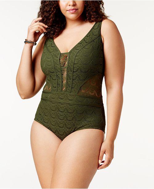 Becca ETC Plus Size Crocheted Illusion One-Piece Swimsuit .