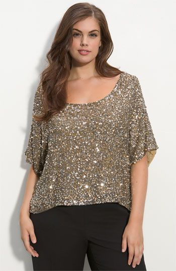 Vince Camuto Sequined Silk Blouse (Plus | Plus size tops, Fashion .