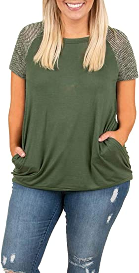 Womens Short Sleeve Plus Size Tops Raglan Baseball Tee Shirts .