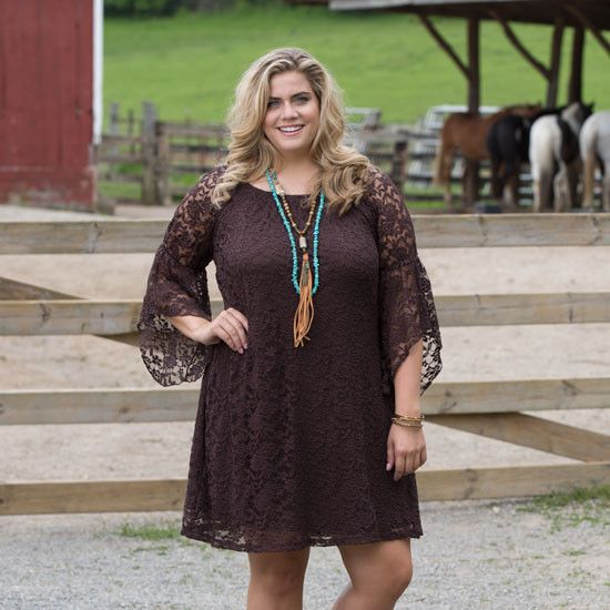 Cheyenne Chocolate Plus Dress | Cowgirl dresses, Fashion clothes wom