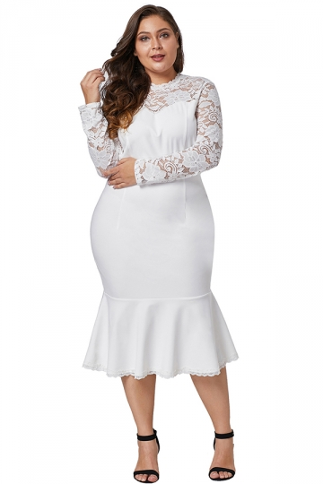 Plus Size Long Sleeve Floral Lace Peplum Hem Evening Dress White .
