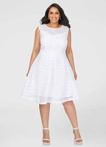 Mesh Stripe Skater Dress Ashley Stewart (With images) | Plus size .