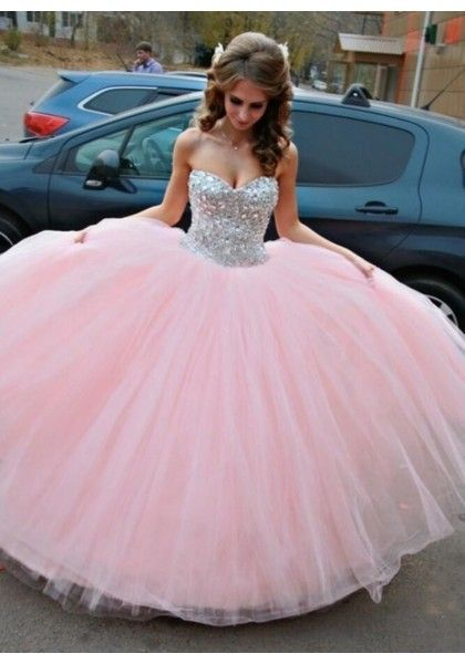 Beaded pink tulle long poofy prom dress for teens, homecoming .