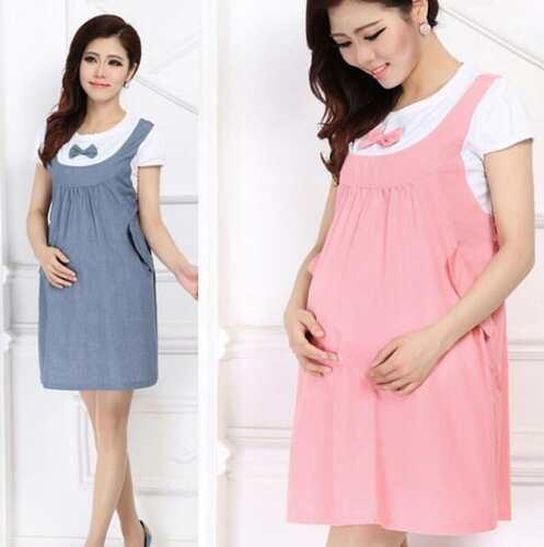 Women Maternity Denim Dress Bow Clothes For Pregnant Pregnancy .