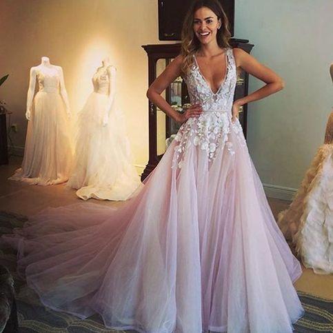 Pretty lavender long prom dress,A-line V-neck lace long prom .