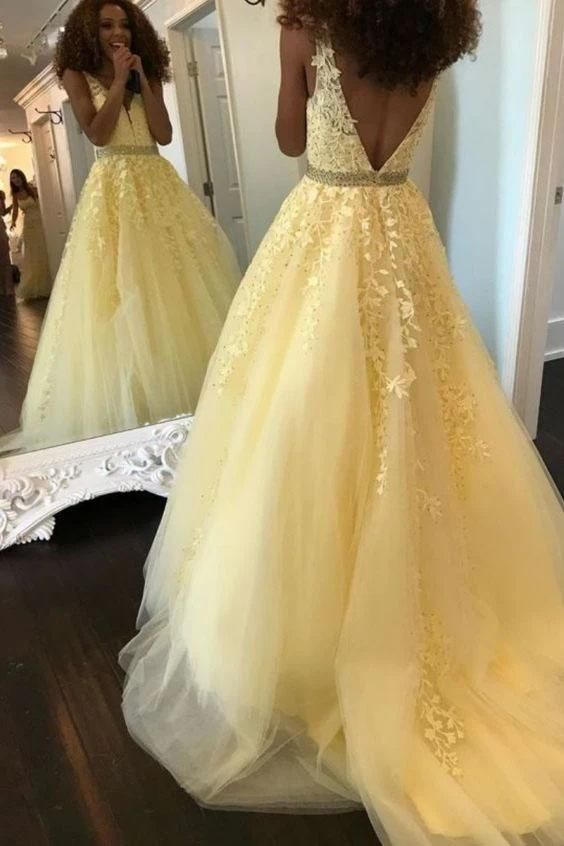 Fashion Ball Gown V Neck Prom Dresses with Appliques and Beads .