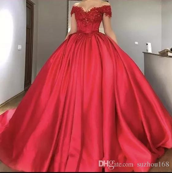 Sexy V Neck Red Princess Prom Dress A Line Ball Gown With Lace .