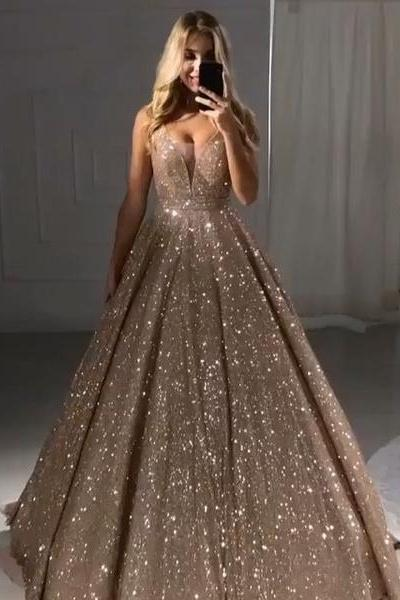 Sparkly Newest Long Backless Ball Gown Princess Prom Dress Party .