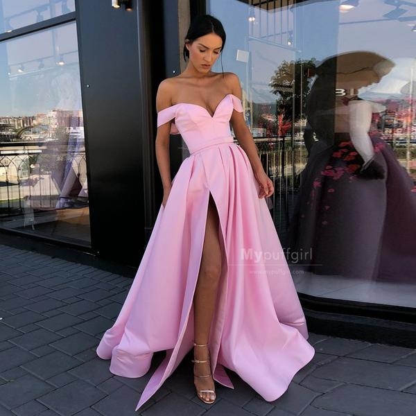 Sexy Long Pink Satin Off-the-Shoulder A Line 2019 Prom Gown .